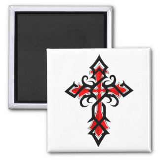 Red and Black Decorative Jesus Christ Cross Magnet