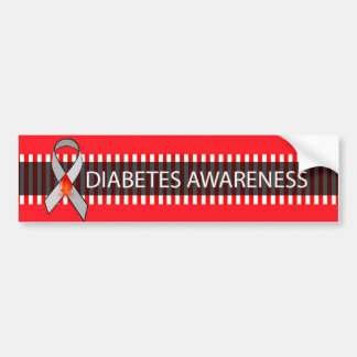 Red and Black Diabetes Awareness Ribbon Bumper Bumper Sticker