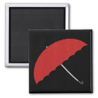 red and black dots umbrella magnet