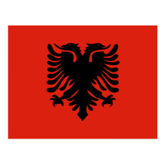 Red and Black Double Headed Eagle Flag of Albania Postcard