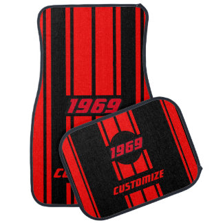 Red and Black Double Race Stripes   Personalize Car Mat