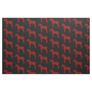 Red and Black Draft Horse Silhouette Fabric