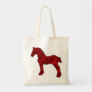 Red and Black Draft Horse Silhouette Tote Bag
