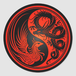Red and Black Dragon Phoenix Yin Yang Round Sticker