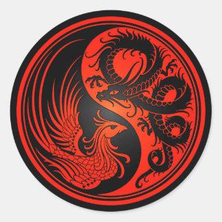 Red and Black Dragon Phoenix Yin Yang Classic Round Sticker