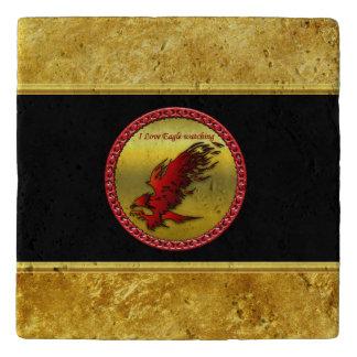 Red and black eagle hawk falcan gold foil texture trivet
