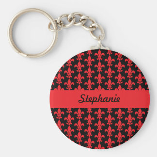 Red and Black Fleur de Lis Pattern Keychain