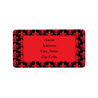Red and Black Fleur de Lis Pattern Label