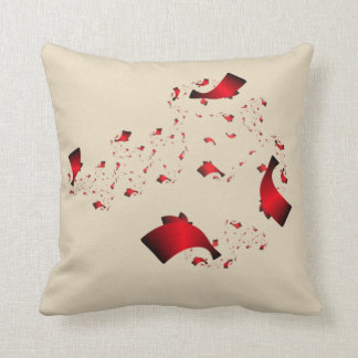 Red and Black Floating Confetti Throw Pillow