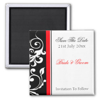 Red and Black Floral Save The Date Magnet