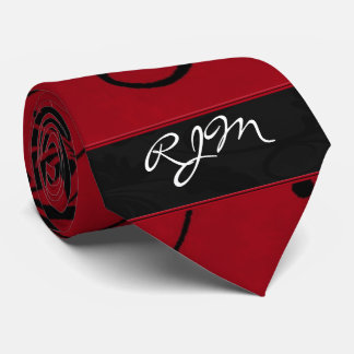 Red and Black Floral Swirl Damask Monogram Tie