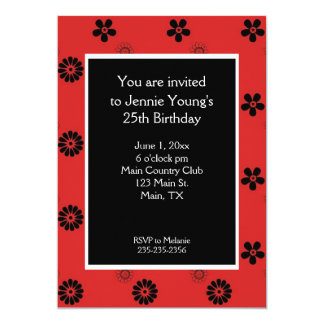 Red and Black Floral Women's Invitation