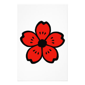 Red and Black Flower Personalized Stationery