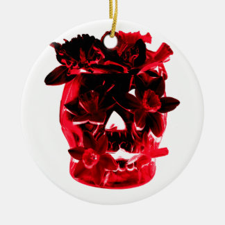 Red and Black Flowers and Skull Round Ceramic Ornament
