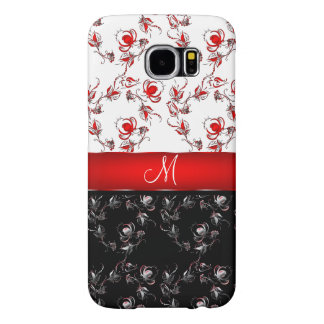 Red and Black flowers Monogram Samsung Galaxy S6 Cases
