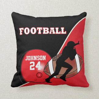 Red and Black Football | DIY Name & Number Throw Pillow