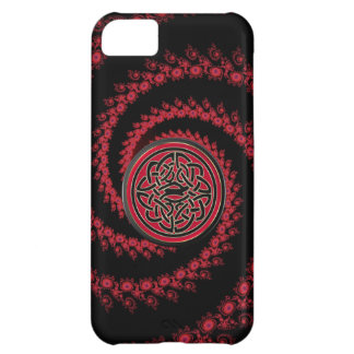 Red and Black Fractal with Celtic Knot iPhone 5C Cases