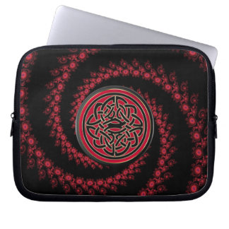 Red and Black Fractal with Celtic Knot Laptop Sleeve
