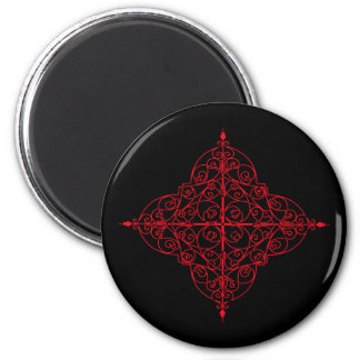 Red and black gothic ornamental magnet