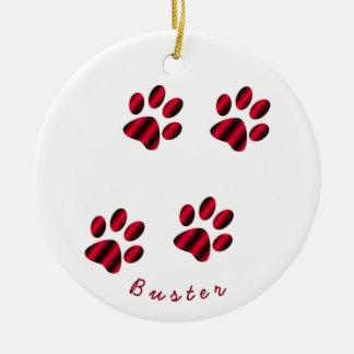 Red and Black Gradient Paw Prints Ceramic Ornament