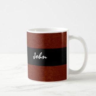 Red and Black Grunge Custom Name JOHN Classic White Coffee Mug