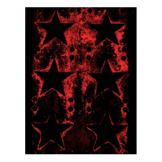 Red and black grungy stars gothic postcard