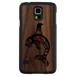 Red and Black Haida Spirit Killer Whale Walnut Galaxy S5 Slim Case