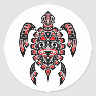 Red and Black Haida Spirit Sea Turtle Round Sticker