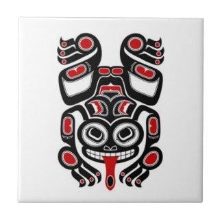 Red and Black Haida Spirit Tree Frog Tile