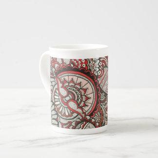 Red and Black Handart Bone China Mug