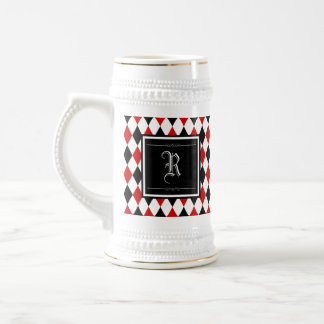 Red and Black Harlequin Diamond Pattern Monogram Beer Stein