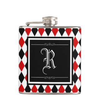 Red and Black Harlequin Diamond Pattern Monogram Hip Flask