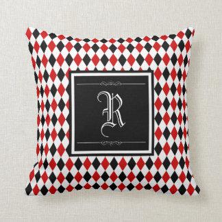 Red and Black Harlequin Diamond Pattern Monogram Throw Pillow