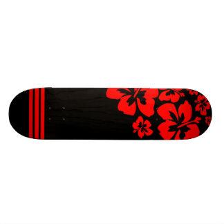 Red and Black Hawaiian Influenced Skateboard Deck