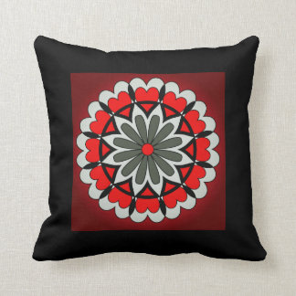 Red and Black Heart Flower Pillow