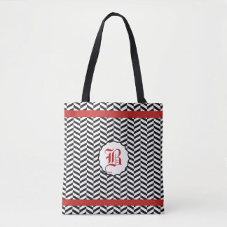 Red and Black Herringbone Monogram Tote Bag