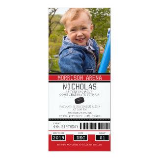 "Red and Black Hockey Ticket Birthday 4"" X 9.25"" Invitation Card"