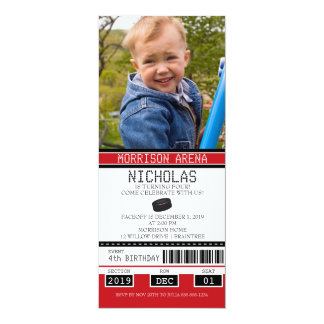 Red and Black Hockey Ticket Birthday Card