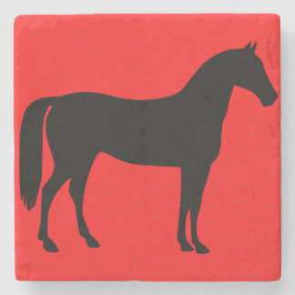 Red and Black Horse Silhouette Stone Beverage Coaster