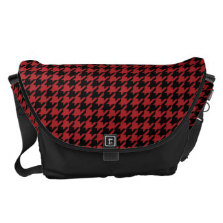 Red and Black Houndstooth Courier Bag