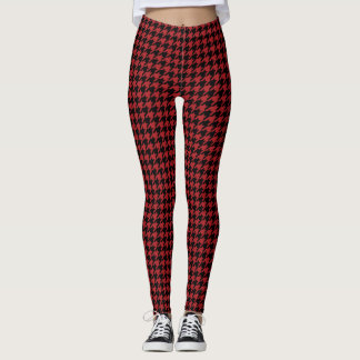 Red And Black Houndstooth Leggings
