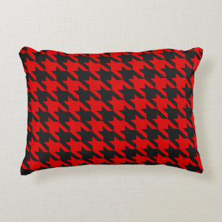 Red And Black Houndstooth Pattern Accent Pillow