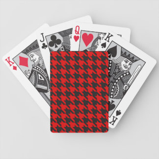 Red And Black Houndstooth Pattern Bicycle Playing Cards