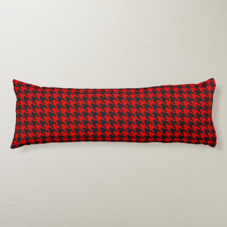 Red And Black Houndstooth Pattern Body Pillow