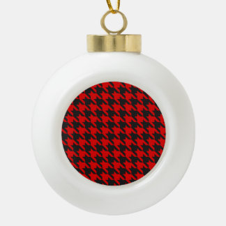 Red And Black Houndstooth Pattern Ceramic Ball Christmas Ornament