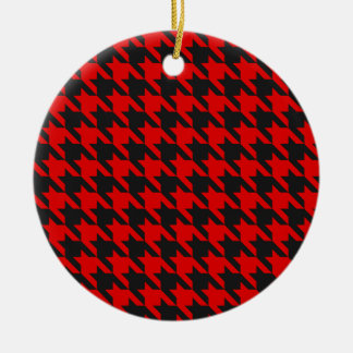 Red And Black Houndstooth Pattern Ceramic Ornament