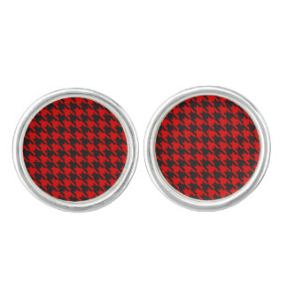 Red And Black Houndstooth Pattern Cufflinks