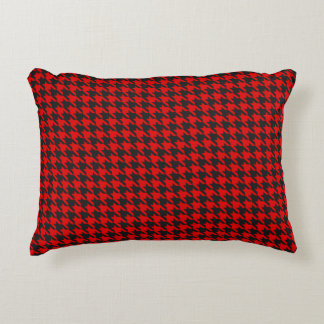 Red And Black Houndstooth Pattern Decorative Pillow