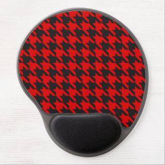Red And Black Houndstooth Pattern Gel Mouse Pad