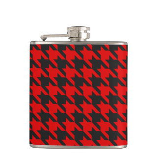 Red And Black Houndstooth Pattern Hip Flask